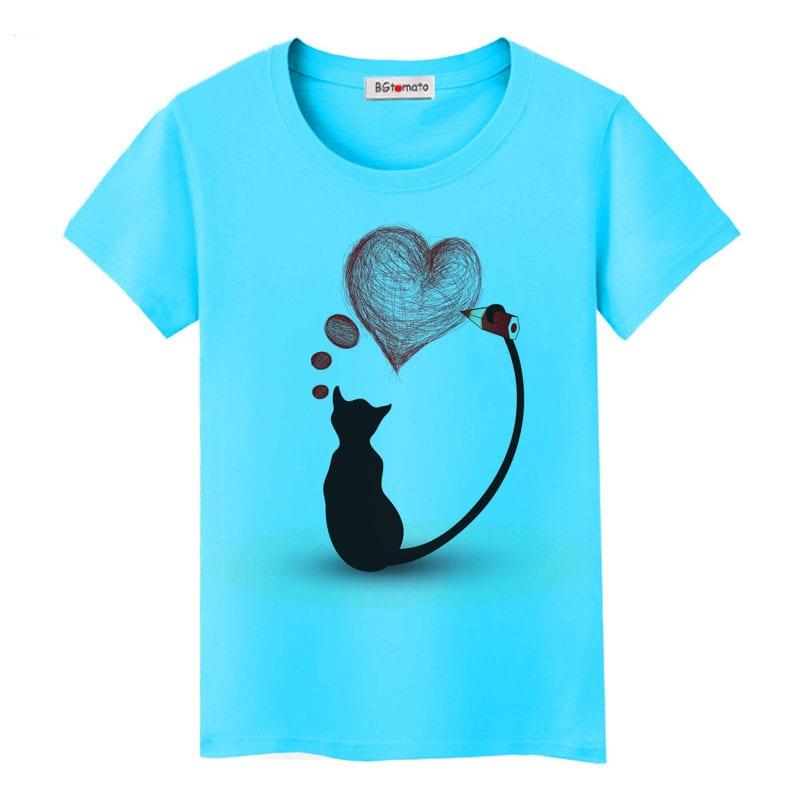 Elegant Black Cat T-Shirt Valentine's Day