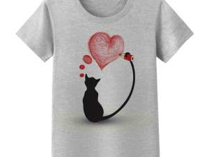 Elegant Black Cat T-Shirt Valentine's Day