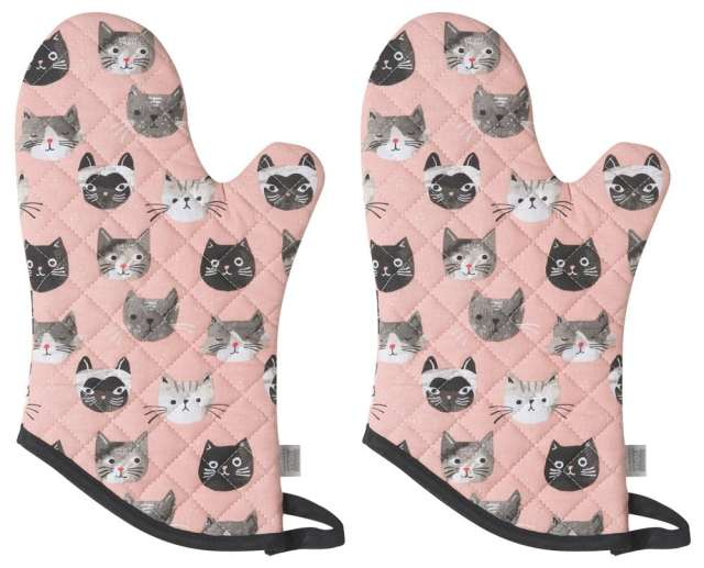 cat themed kitchen mitts