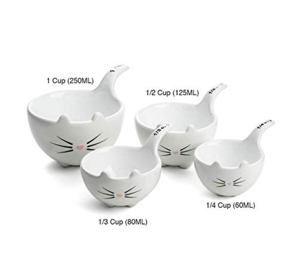 White Ceramic Cat Measuring Cups