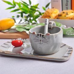 Handmade Cat Coffee Mug Plate Complete Set 1