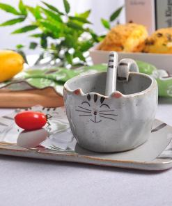 Handmade Cat Coffee Mug Plate Complete Set 1