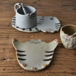 Handmade Cat Coffee Mug Plate