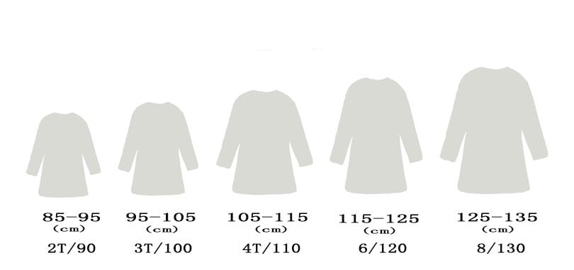 Cute Cat Design Girl's Dress Size Chart