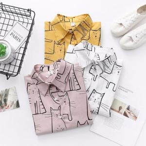 Cute Cat Lady Casual Blouse