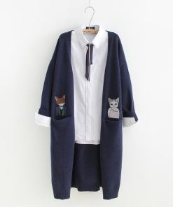 Double Pocket Cat Embroidered Cardigan