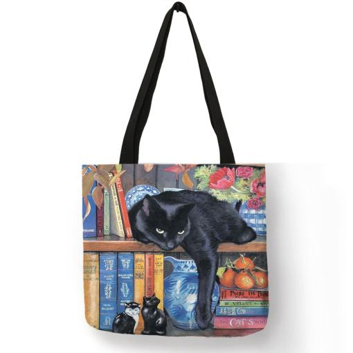 Cat Design Linen Tote Bags at The Great Cat Store