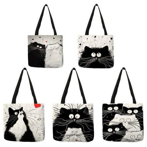 Black Cat Linen Tote Bag