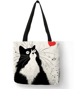 Black Cat Linen Tote Bag
