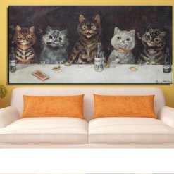 Louis Wain: The Bachelor Party Unframed Cat Art Canvas