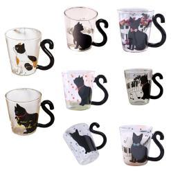 Various Black Cat Glass Tea Coffee Mugs