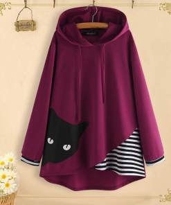 Plus Size Peeping Tom Cat Hooded Sweatshirt