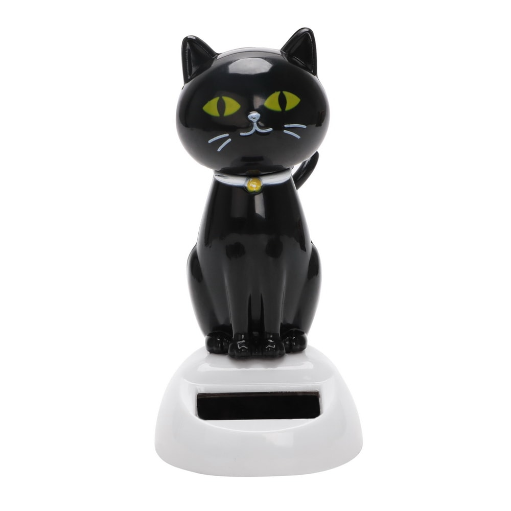 Black Cat Calico Cat Solar Powered Dashboard Decoration