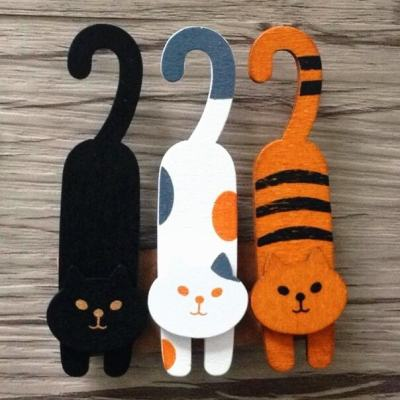 Cute Wooden Cat Shaped Bag Clips