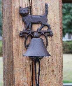 Rustic Cast Iron Cat Design Garden Bell