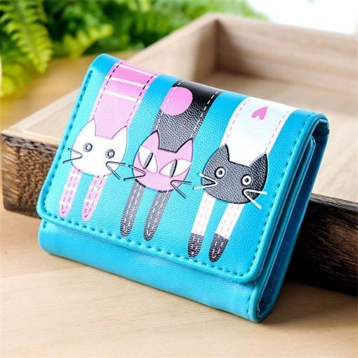 Cute Cat Cartoon Short Leather Coin Purse Wallet