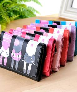 Cute Cat Cartoon Short Leather Coin Purse Wallet