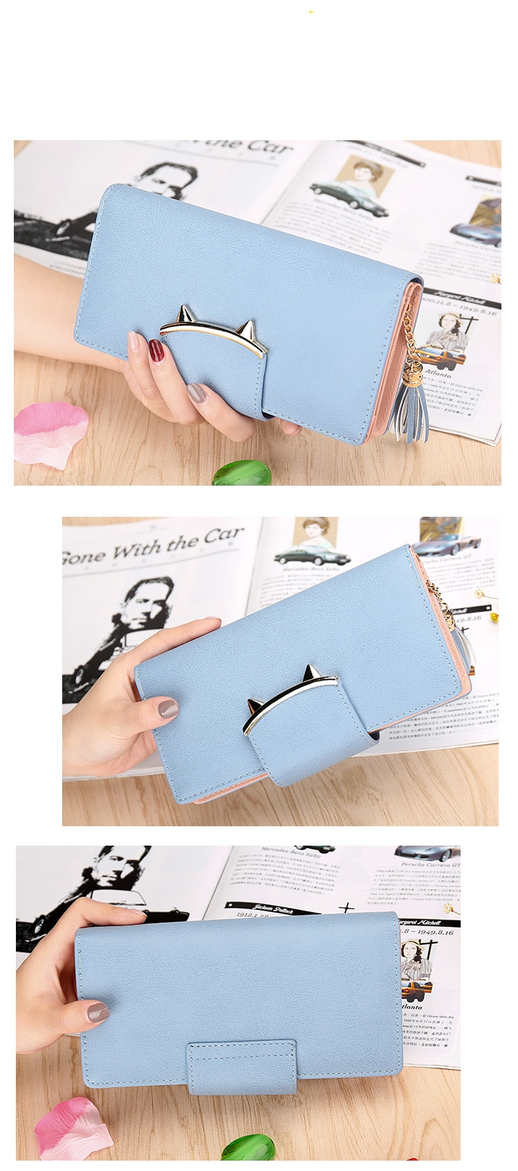 Women's Leather Trifold Long Cat Design Wallet