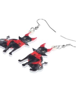 Acrylic Halloween Black Devil Cat Dangle Earrings