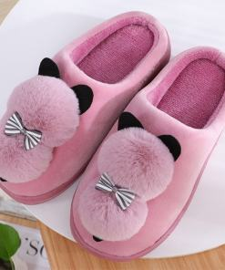 Cute Plush Puffy Cat Slippers