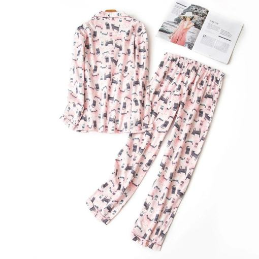 Cotton Long Sleeve Cat Design Pajama Set