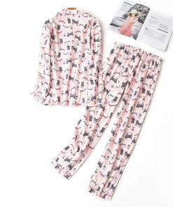 Cotton Long Sleeve Cat Design Pajama Set