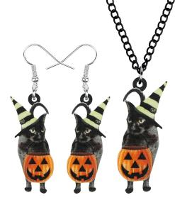 Halloween Pumpkin Cat Dangle Earrings