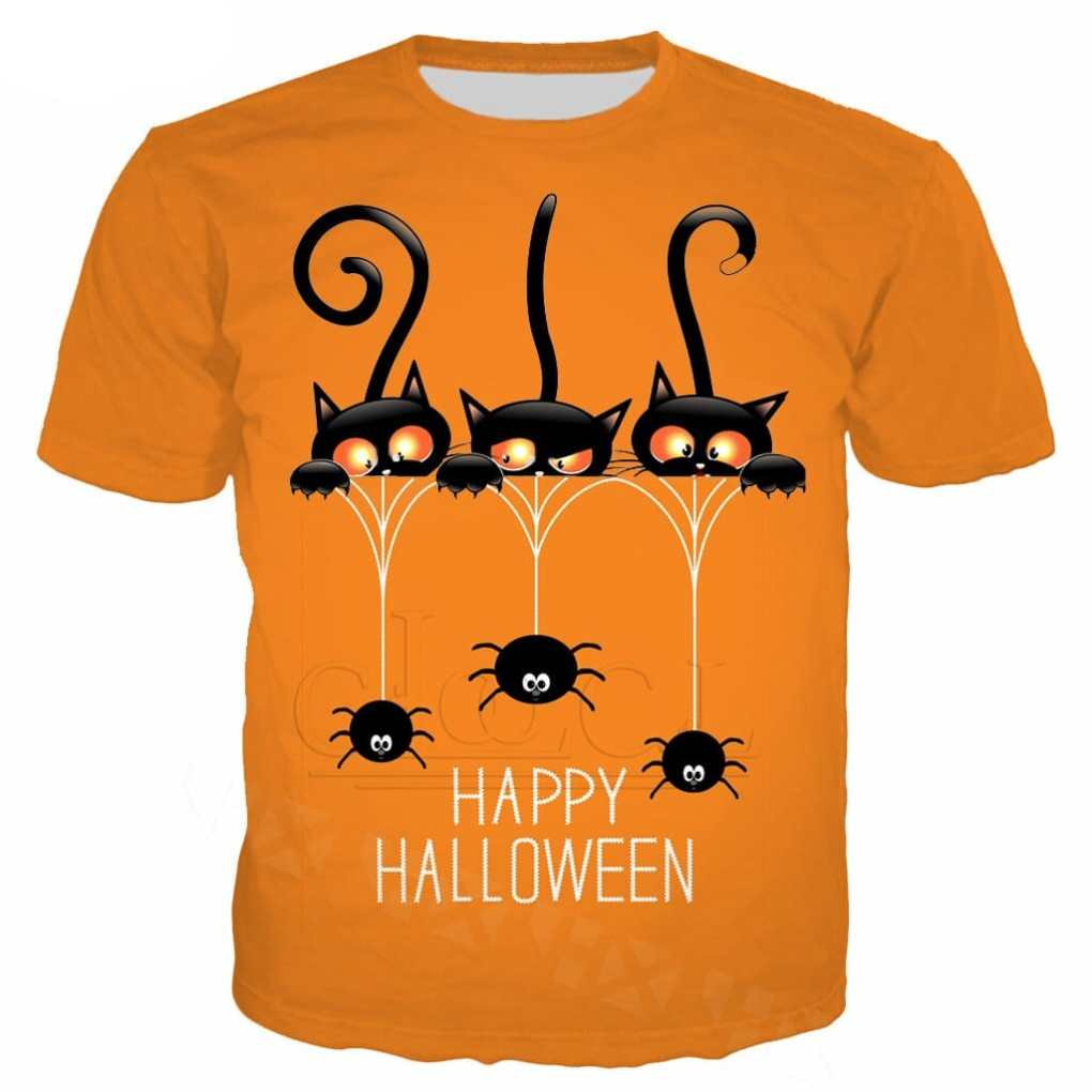 Happy Halloween Plus Size Black Cat T Shirt