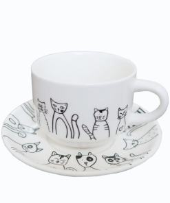 Ceramic Black Cat Plate Cup Bowl Spoon Sets