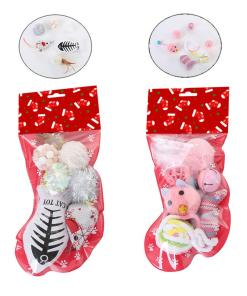 Cat Christmas Stocking 6 Piece Goodie Bag