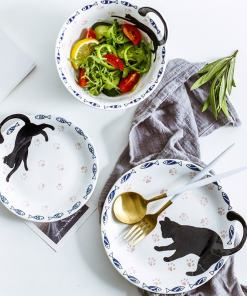 Black Cat Design Ceramic Plates Bowls