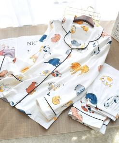 Cute Cat Print 100% Cotton Pajamas