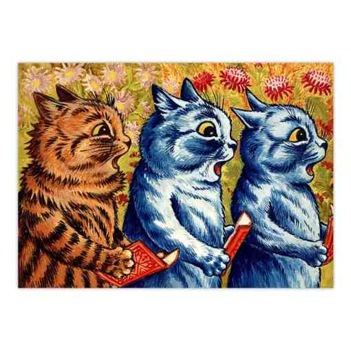 Unframed Louis Wain Three Cats Singing Canvas Giclee Print