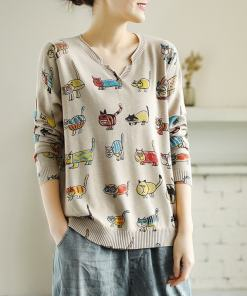 Cute Cartoon Cat Pullover