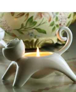 Cat Shaped Ceramic Candle Holder - Egg Cup