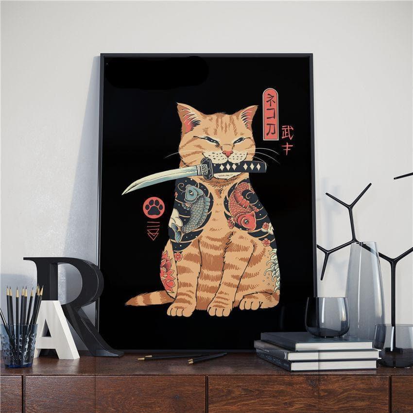 Japanese Samurai Cat Canvas Art Print