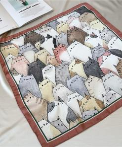 Various Cute Kitty Themed Square Scarves