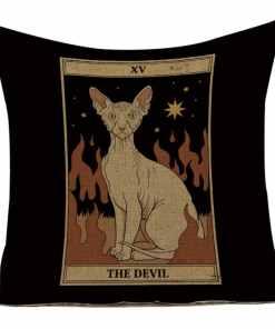 Cat Tarot Card Pattern Cushion Covers