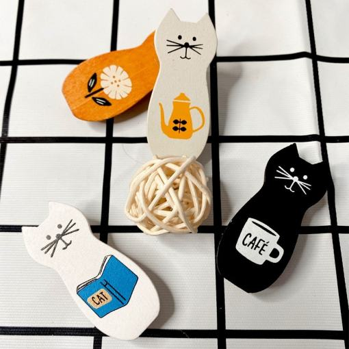 Set of Four Cute Wooden Kitty Clips at The Great Cat Store