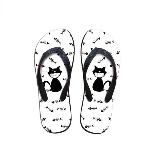 Black Cat Design Flip Flops
