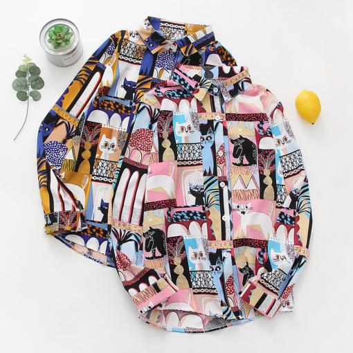 Colorful Cat Themed Blouse at The Great Cat Store