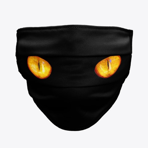 Yellow Eyed Black Cat Face Mask