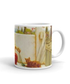 Lady Playing with a Kitten Art Mug
