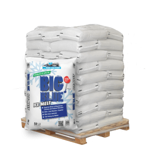 50lb bag of Big Blue Ice Melt in front of pallet