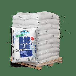50lb bag of Big Blue Ice Melt in front of pallet