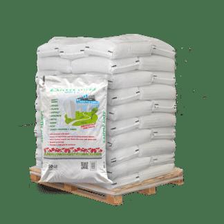 50lb bag of Earth Melt in front of pallet