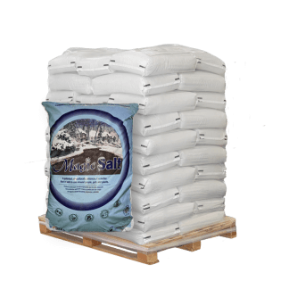 50lb bag of magic salt in front of pallet