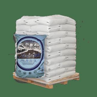 50lb bag of magic salt in front of pallet