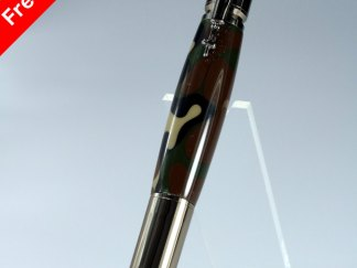 Hand Crafted 30 Cal. Carbine Bullet Pen with Jungle Camouflage Barrel