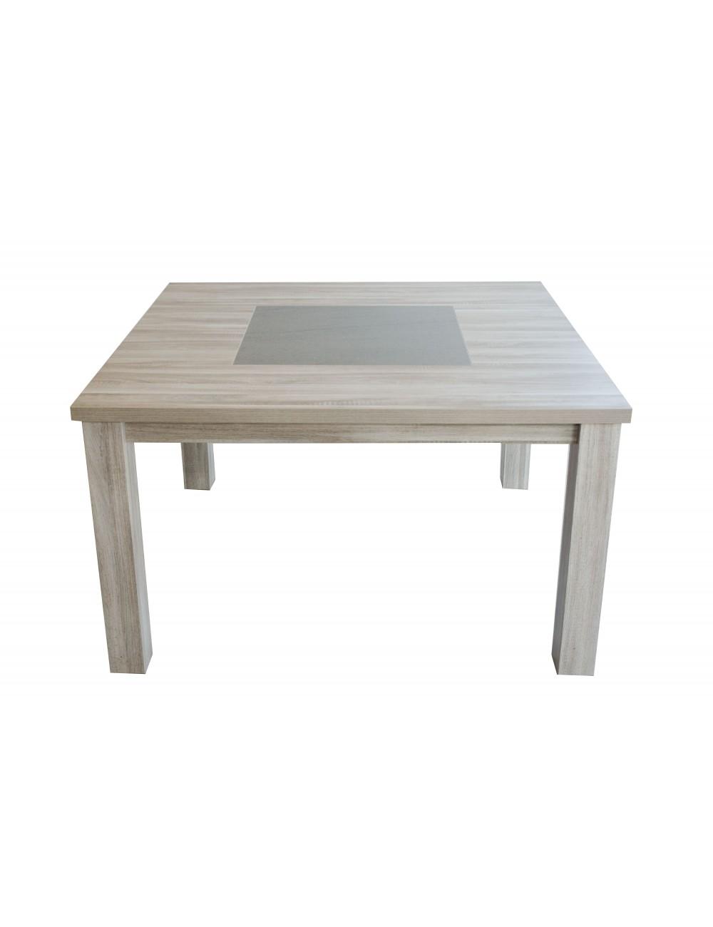 table carree 135 135 mela gris centre effet beton